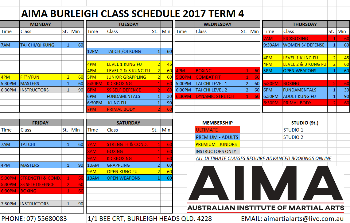 Timetable Term 4 2017 New