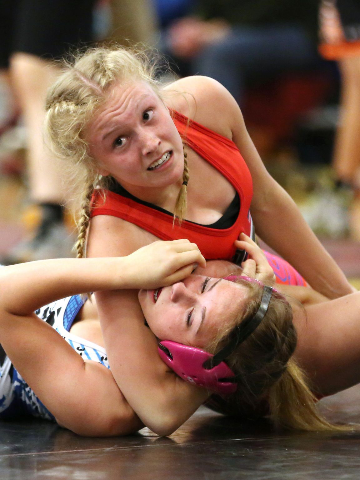 Grappling girls headlock